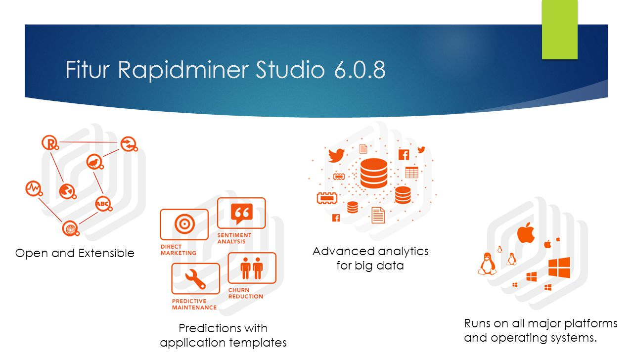 Fitur Rapidminer Studio 6.0.8 Open and Extensible Advanced analytics for big data Predictions with application templates Runs on all major platforms and operating systems.