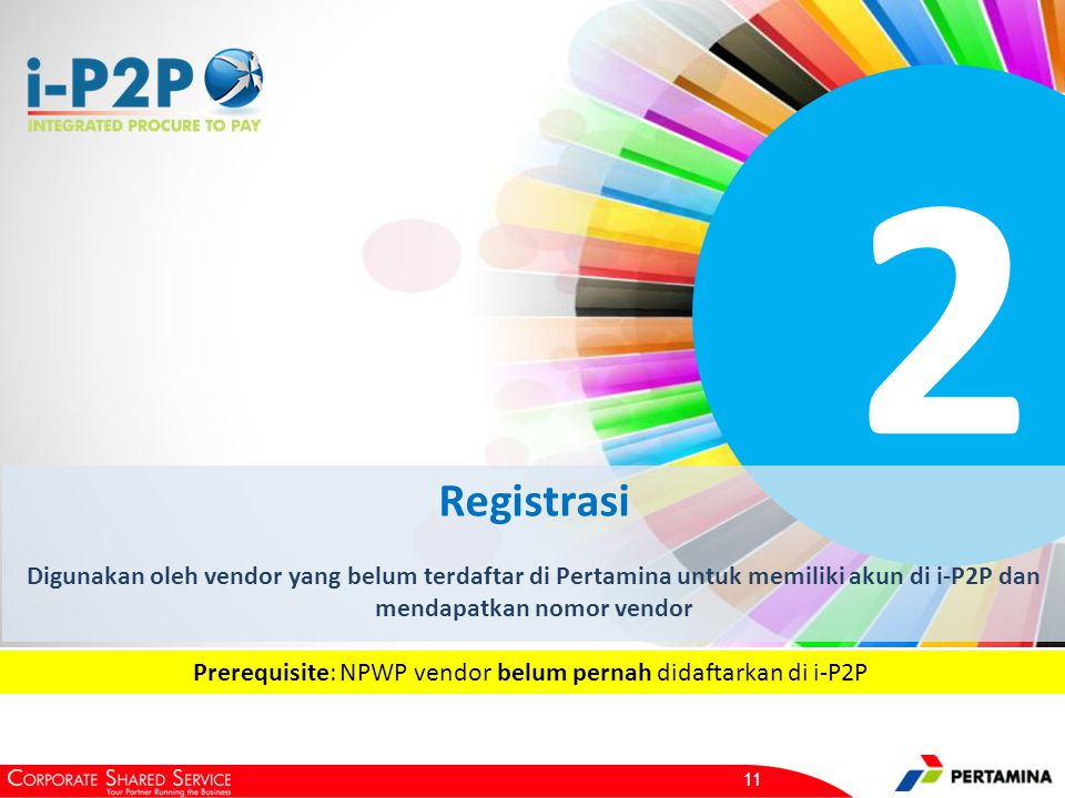 2 Registrasi Digunakan oleh vendor yang belum terdaftar di Pertamina untuk memiliki akun di i-P2P dan mendapatkan nomor vendor 11 Prerequisite: NPWP vendor belum pernah didaftarkan di i-P2P