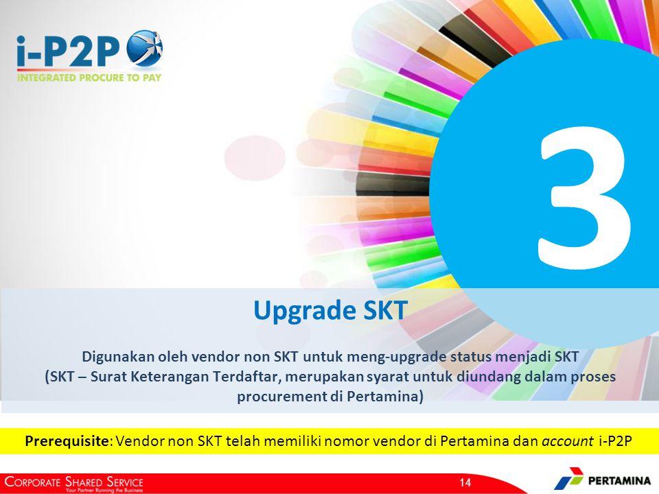 3 Upgrade SKT Digunakan oleh vendor non SKT untuk meng-upgrade status menjadi SKT (SKT – Surat Keterangan Terdaftar, merupakan syarat untuk diundang dalam proses procurement di Pertamina) 14 Prerequisite: Vendor non SKT telah memiliki nomor vendor di Pertamina dan account i-P2P