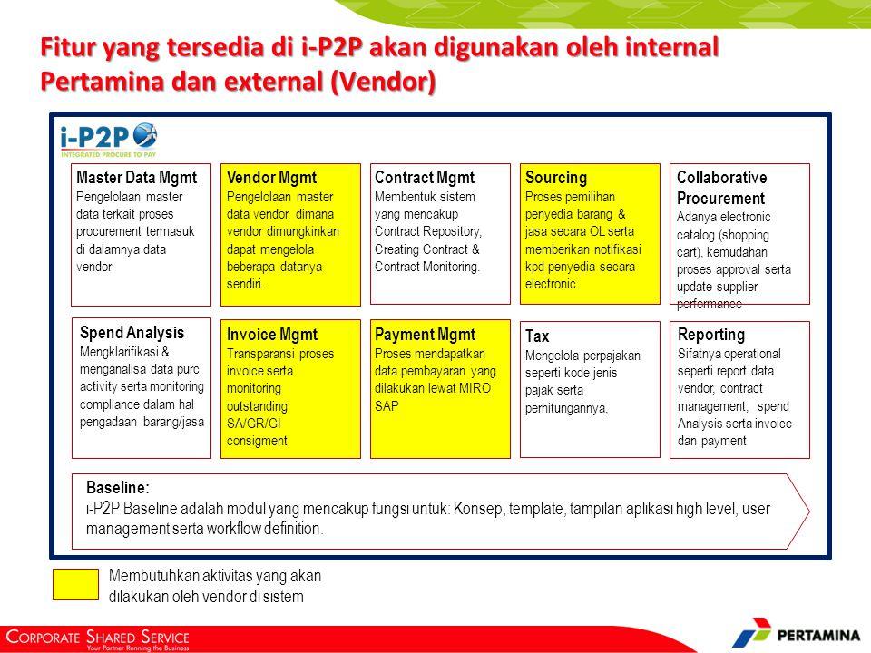 Baseline: i-P2P Baseline adalah modul yang mencakup fungsi untuk: Konsep, template, tampilan aplikasi high level, user management serta workflow defin