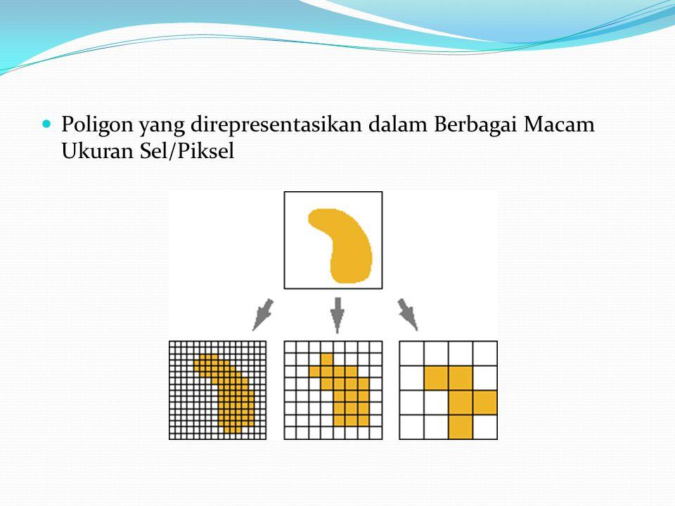 Poligon yang direpresentasikan dalam Berbagai Macam Ukuran Sel/Piksel