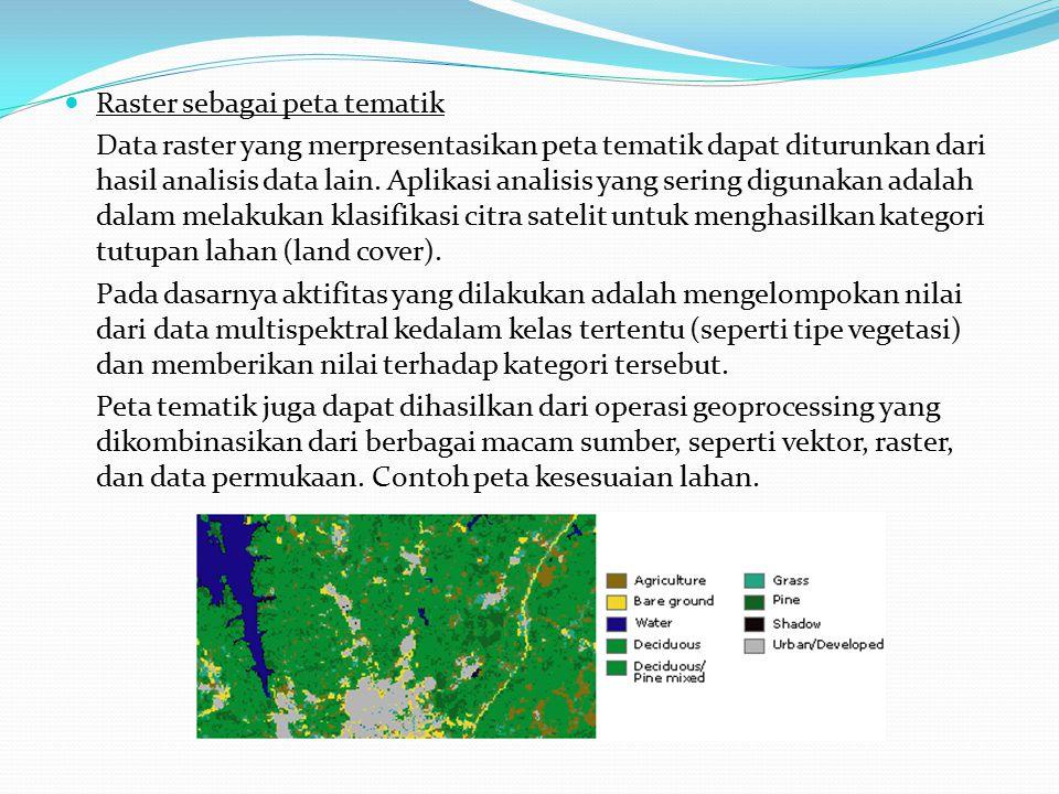 Raster sebagai peta tematik Data raster yang merpresentasikan peta tematik dapat diturunkan dari hasil analisis data lain.