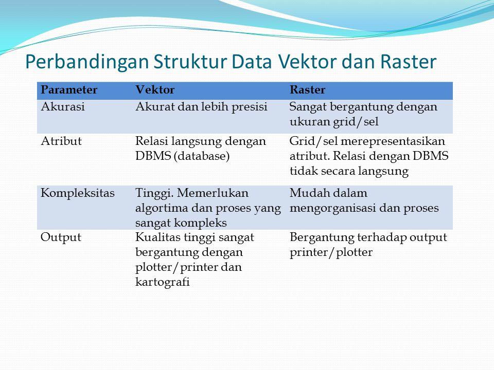 Perbandingan Struktur Data Vektor dan Raster ParameterVektorRaster AkurasiAkurat dan lebih presisiSangat bergantung dengan ukuran grid/sel AtributRelasi langsung dengan DBMS (database) Grid/sel merepresentasikan atribut.