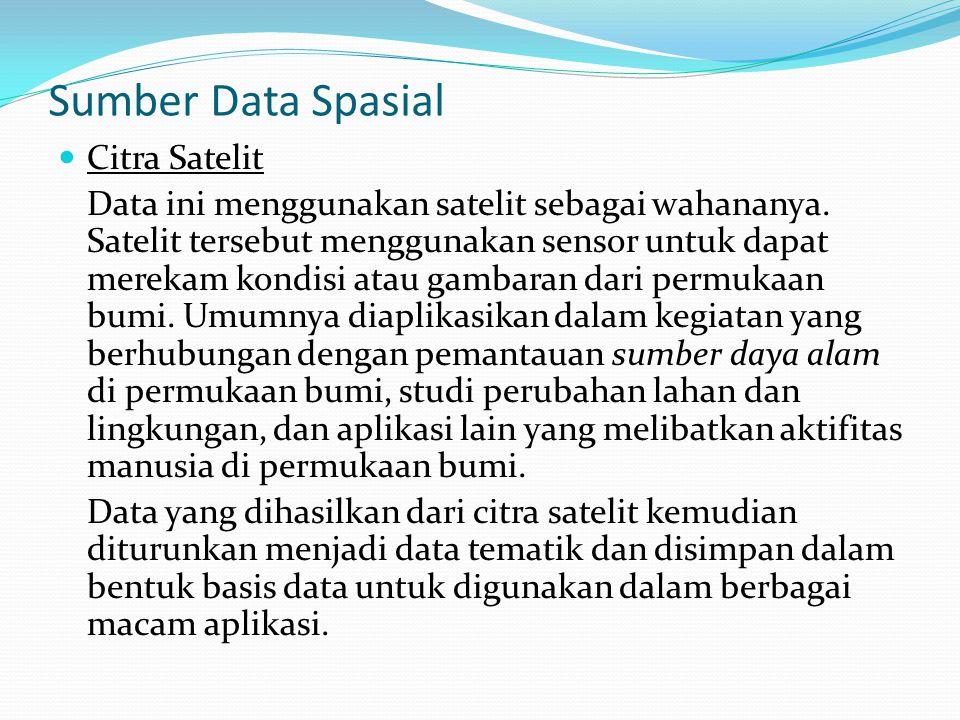 Sumber Data Spasial Citra Satelit Data ini menggunakan satelit sebagai wahananya.