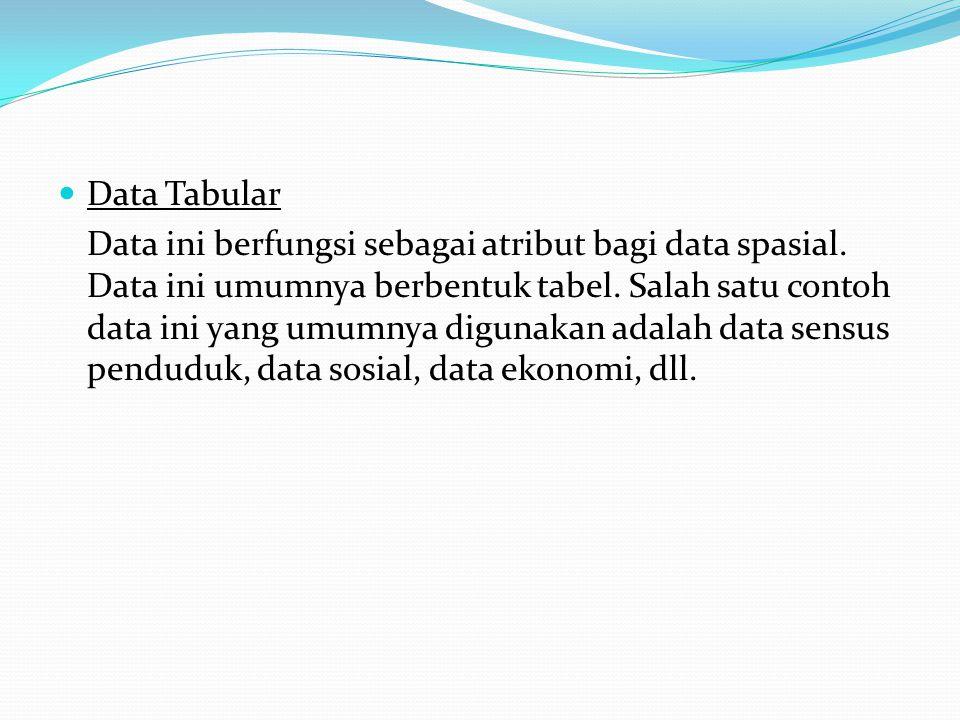 Data Tabular Data ini berfungsi sebagai atribut bagi data spasial.