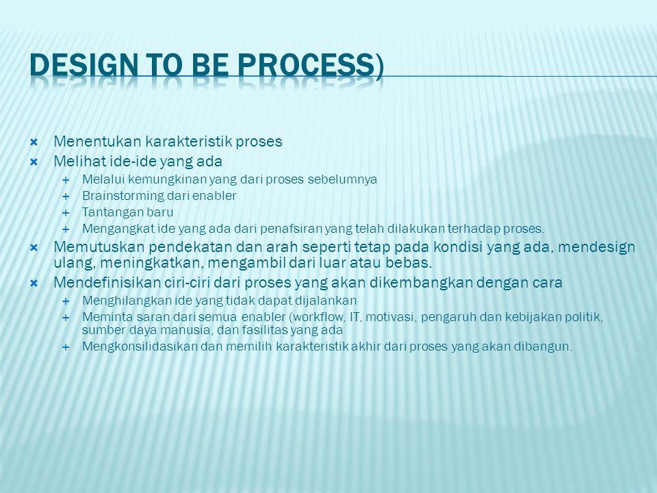  Menentukan karakteristik proses  Melihat ide-ide yang ada  Melalui kemungkinan yang dari proses sebelumnya  Brainstorming dari enabler  Tantanga