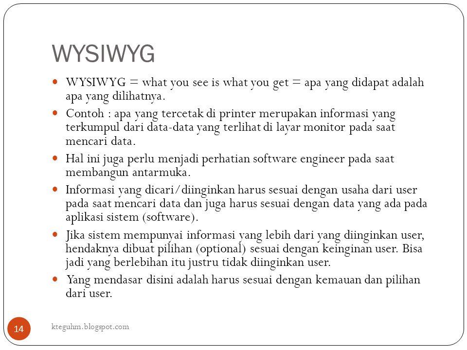 WYSIWYG kteguhm.blogspot.com 14 WYSIWYG = what you see is what you get = apa yang didapat adalah apa yang dilihatnya. Contoh : apa yang tercetak di pr