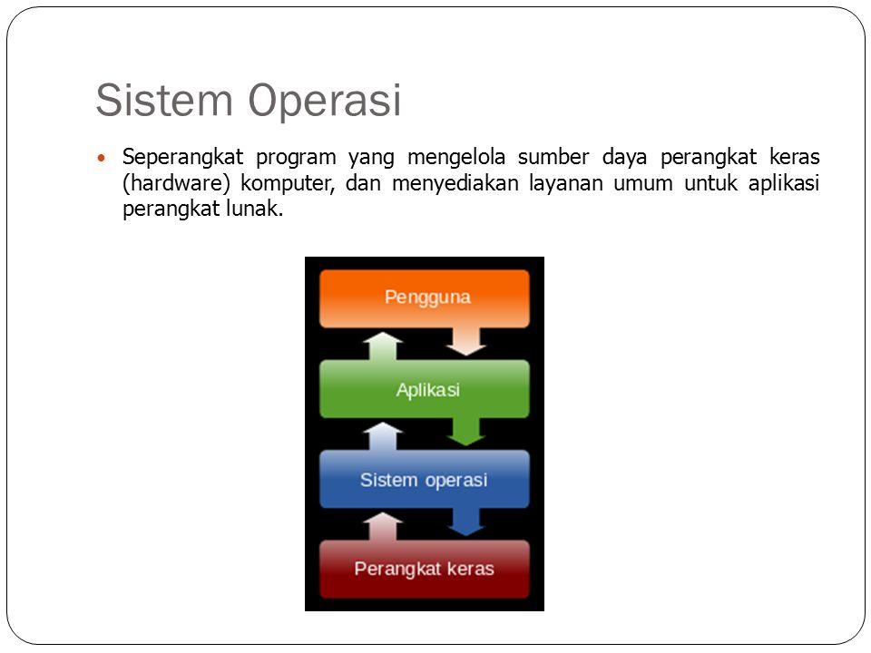 Sistem Operasi Seperangkat program yang mengelola sumber daya perangkat keras (hardware) komputer, dan menyediakan layanan umum untuk aplikasi perangkat lunak.