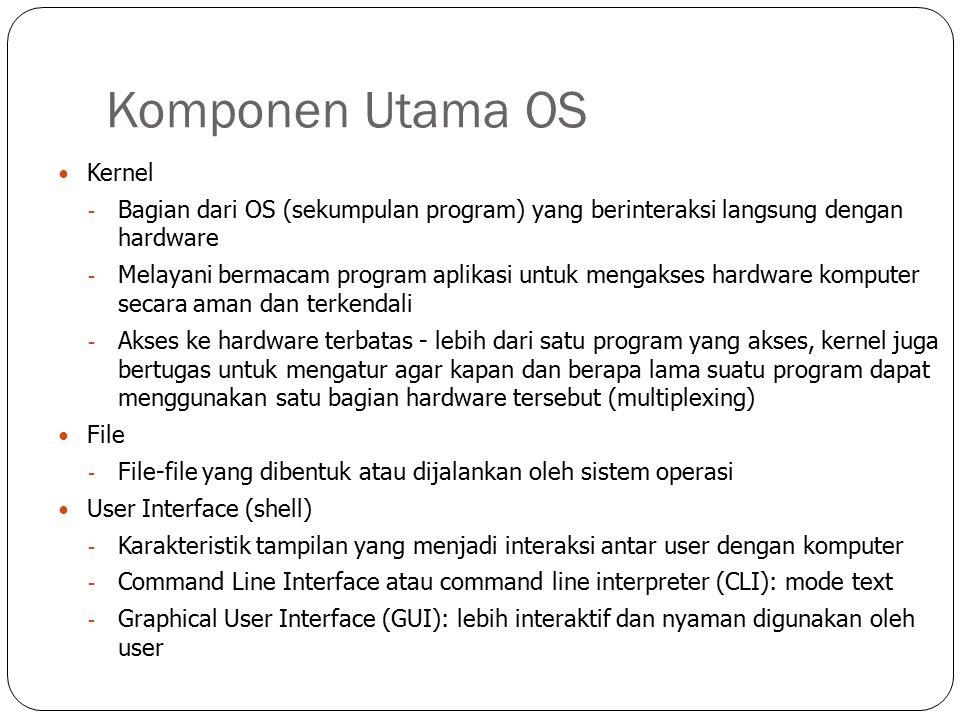 Komponen Utama OS Kernel - Bagian dari OS (sekumpulan program) yang berinteraksi langsung dengan hardware - Melayani bermacam program aplikasi untuk mengakses hardware komputer secara aman dan terkendali - Akses ke hardware terbatas - lebih dari satu program yang akses, kernel juga bertugas untuk mengatur agar kapan dan berapa lama suatu program dapat menggunakan satu bagian hardware tersebut (multiplexing) File - File-file yang dibentuk atau dijalankan oleh sistem operasi User Interface (shell) - Karakteristik tampilan yang menjadi interaksi antar user dengan komputer - Command Line Interface atau command line interpreter (CLI): mode text - Graphical User Interface (GUI): lebih interaktif dan nyaman digunakan oleh user