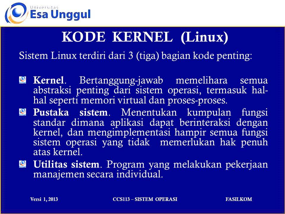 Versi 1, 2013CCS113 – SISTEM OPERASIFASILKOM LATIHAN SOAL 1)Program itu sendiri bukanlah sebuah proses.