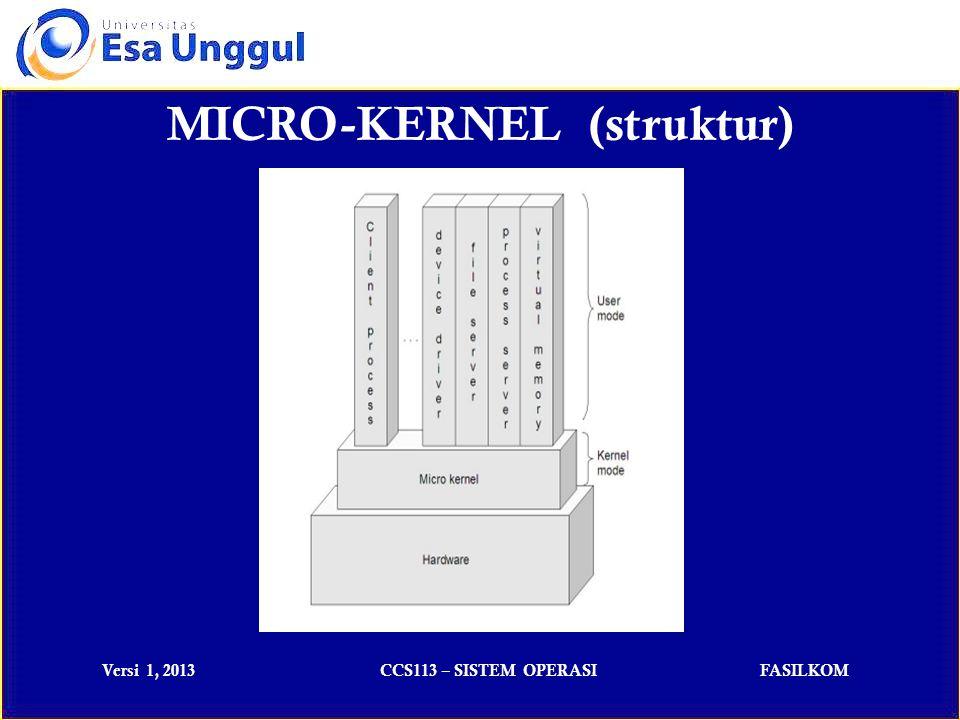 Versi 1, 2013CCS113 – SISTEM OPERASIFASILKOM Kernel hibridaKernel hibrida aslinya adalah mikrokernel yang memiliki kode yang tidak menunjukkan bahwa kernel tersebut adalah mikrokernel di dalam ruangan kernel - nya.