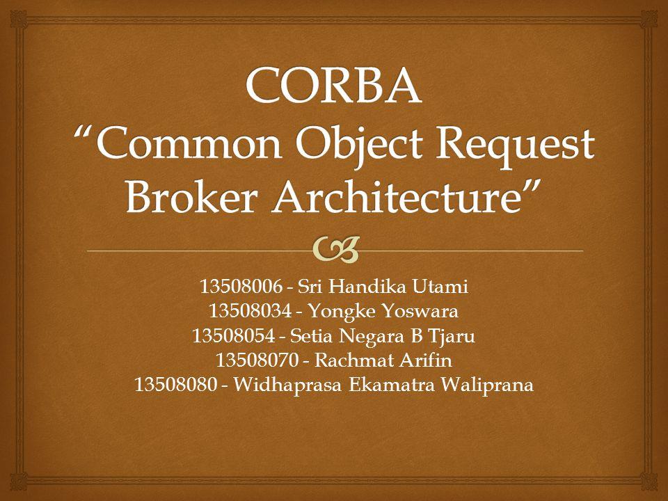   Definisi CORBA  Arsitektur  Proses  Komunikasi  Sinkronisasi  Toleransi Kesalahan  Keamanan Pembahasan