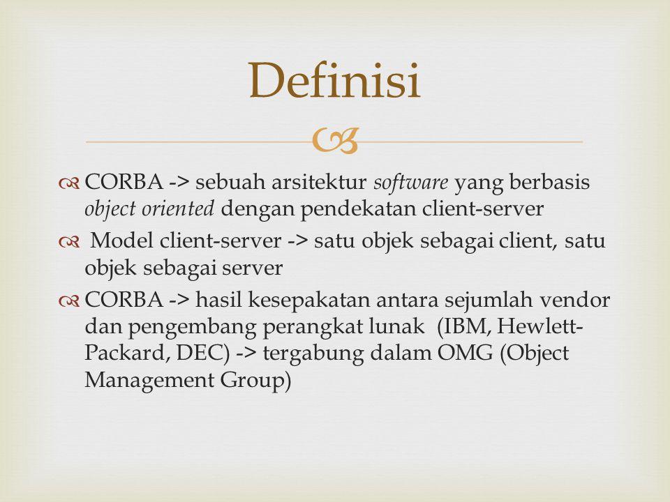   Mendukung interoperabilitas -> kemampuan saling bekerjasama antar sistem komputer  CORBA dapat menangani keberagaman lingkungan antara klien dan server (dapat diimplementasikan pada bahasa pemrograman yang berbeda) Definisi