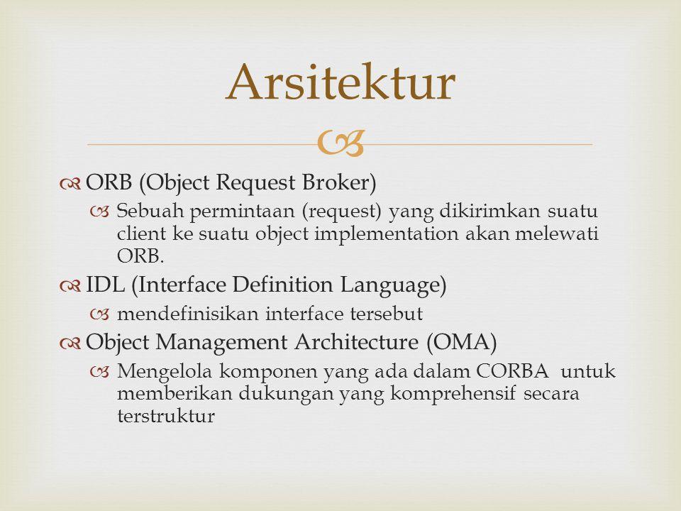   ORB (Object Request Broker)  Sebuah permintaan (request) yang dikirimkan suatu client ke suatu object implementation akan melewati ORB.  IDL (In