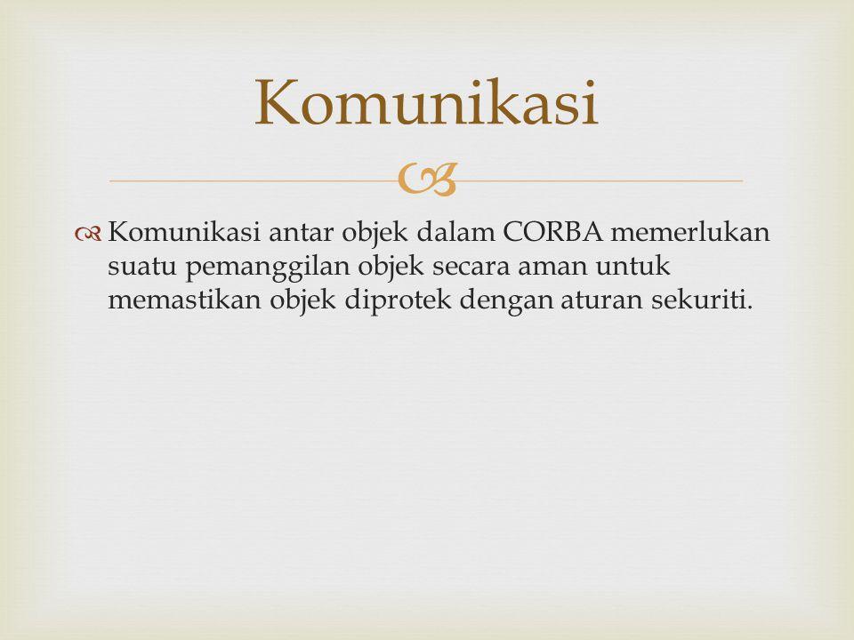   Komunikasi antar objek dalam CORBA memerlukan suatu pemanggilan objek secara aman untuk memastikan objek diprotek dengan aturan sekuriti. Komunika