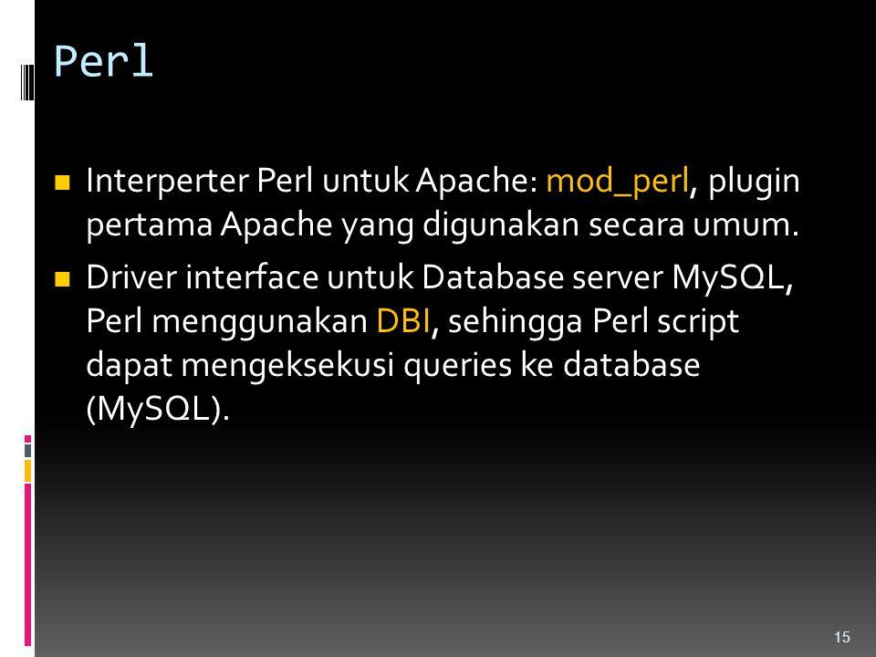 Perl Interperter Perl untuk Apache: mod_perl, plugin pertama Apache yang digunakan secara umum. Driver interface untuk Database server MySQL, Perl men