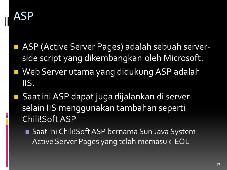 ASP ASP (Active Server Pages) adalah sebuah server- side script yang dikembangkan oleh Microsoft. Web Server utama yang didukung ASP adalah IIS. Saat