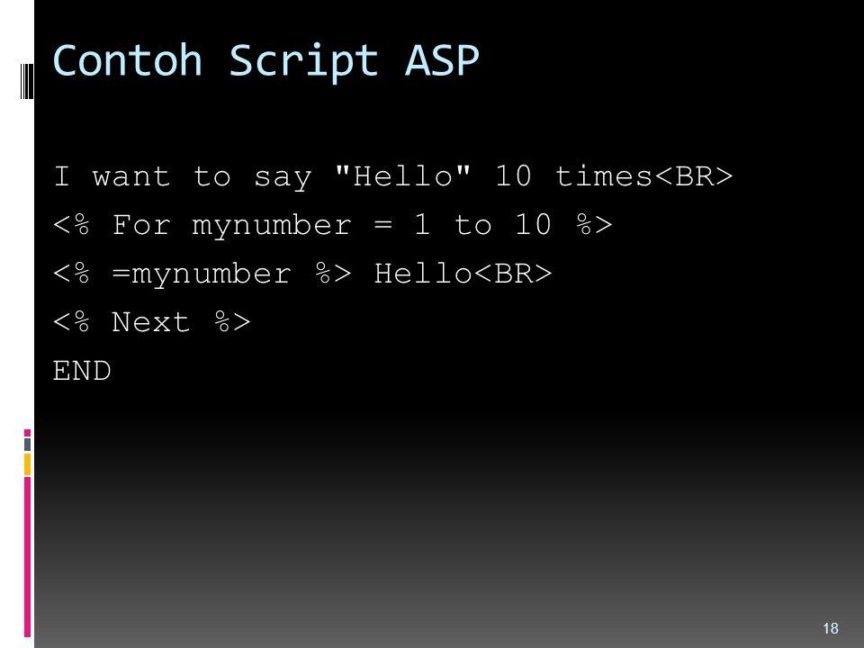 Contoh Script ASP I want to say