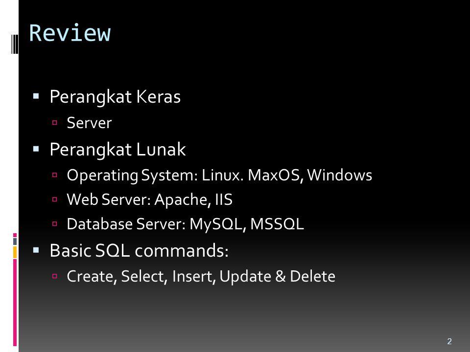 Review  Perangkat Keras  Server  Perangkat Lunak  Operating System: Linux. MaxOS, Windows  Web Server: Apache, IIS  Database Server: MySQL, MSSQ