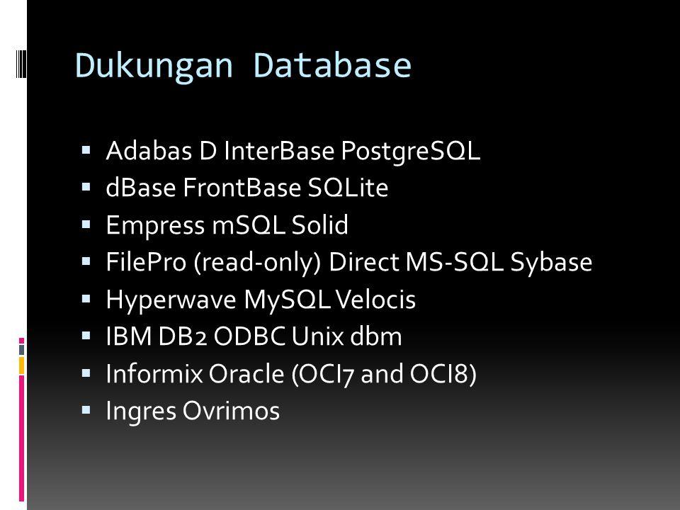 Dukungan Database  Adabas D InterBase PostgreSQL  dBase FrontBase SQLite  Empress mSQL Solid  FilePro (read-only) Direct MS-SQL Sybase  Hyperwave