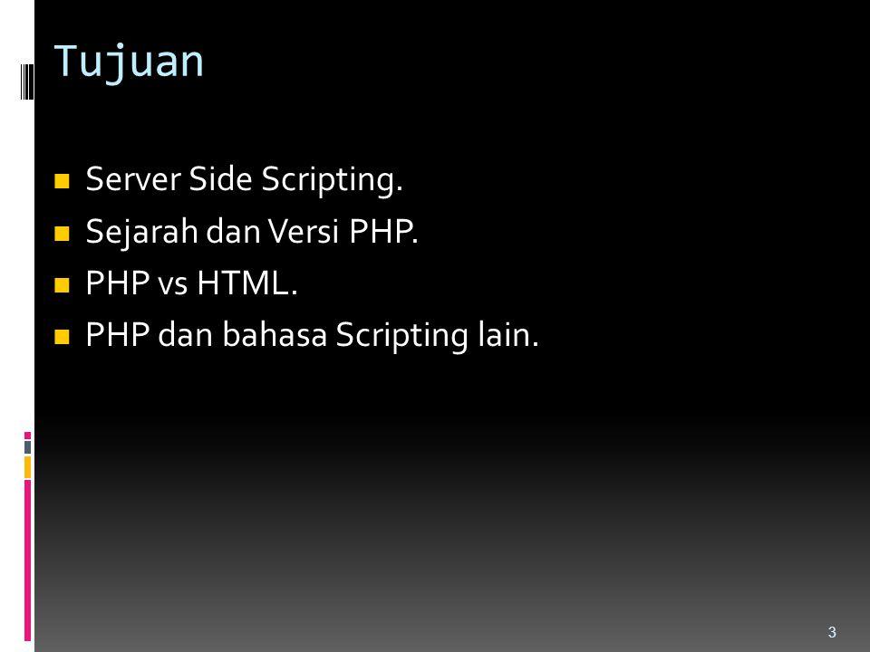Tujuan Server Side Scripting. Sejarah dan Versi PHP. PHP vs HTML. PHP dan bahasa Scripting lain. 3