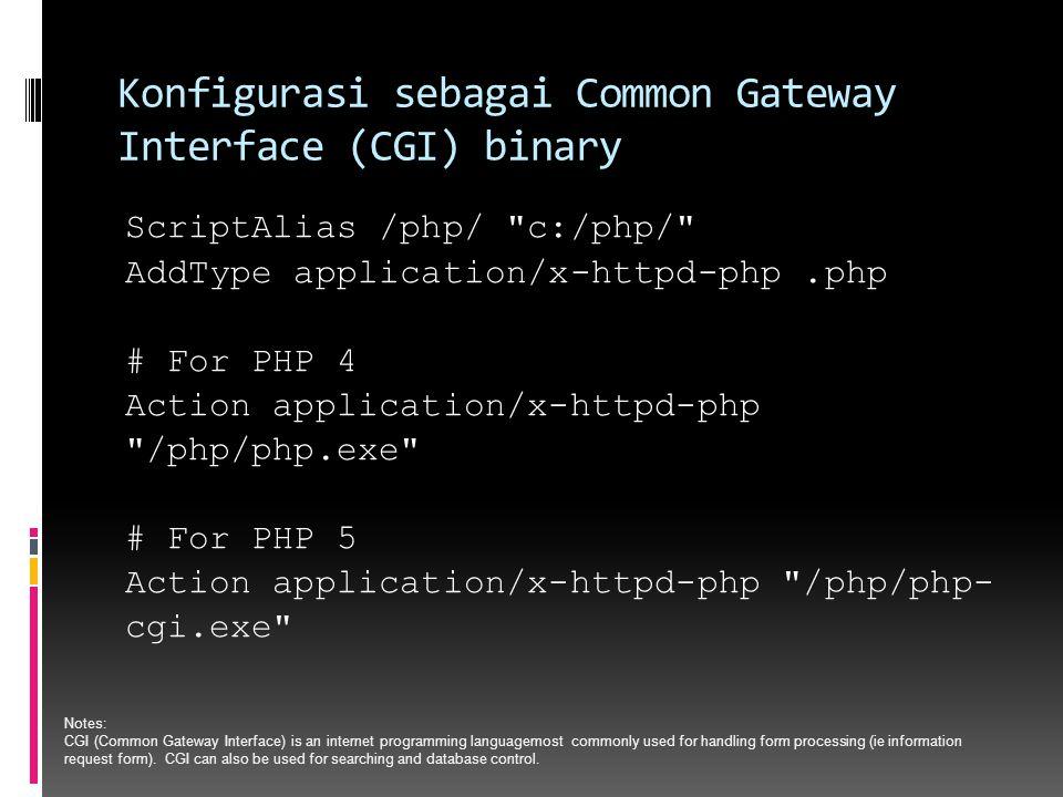 Konfigurasi sebagai Common Gateway Interface (CGI) binary ScriptAlias /php/