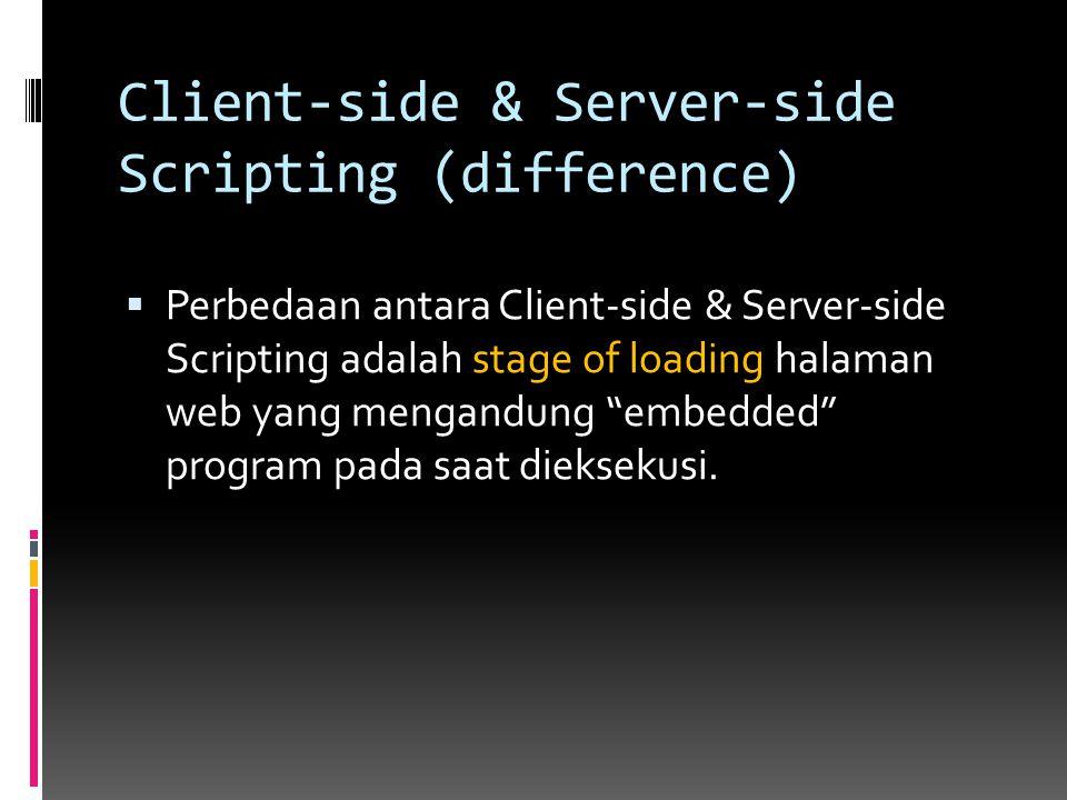Client-Side Scripting Client Side Scripting dibaca dan dieksekusi oleh web browser setelah proses downloading halaman web yg mengandung embedded programs telah selesai dari web server.