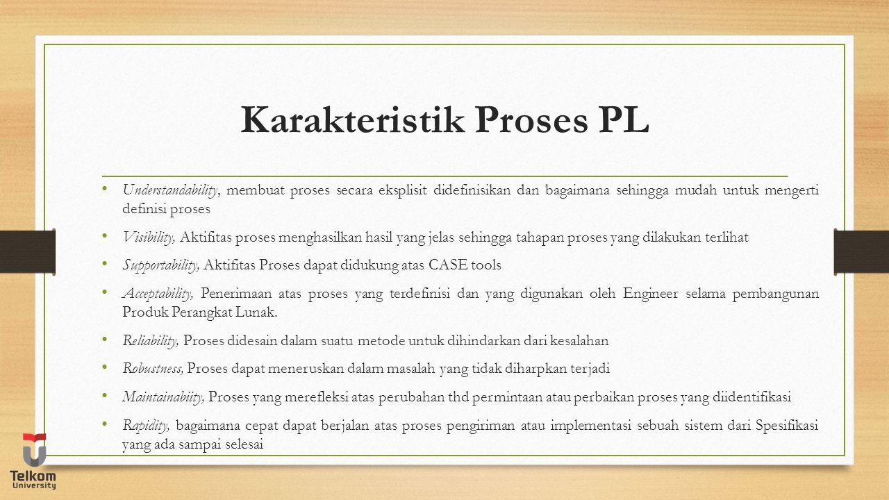 Karakteristik Proses PL Understandability, membuat proses secara eksplisit didefinisikan dan bagaimana sehingga mudah untuk mengerti definisi proses V