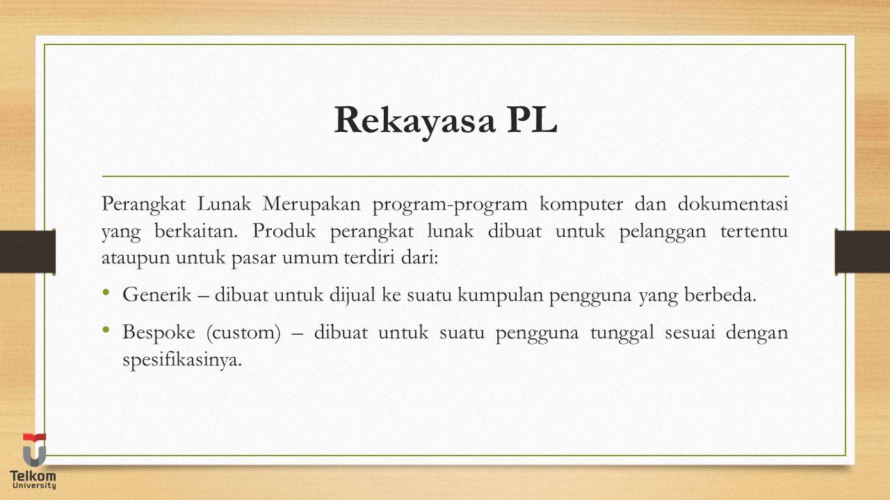 Rekayasa PL Perangkat Lunak Merupakan program-program komputer dan dokumentasi yang berkaitan. Produk perangkat lunak dibuat untuk pelanggan tertentu