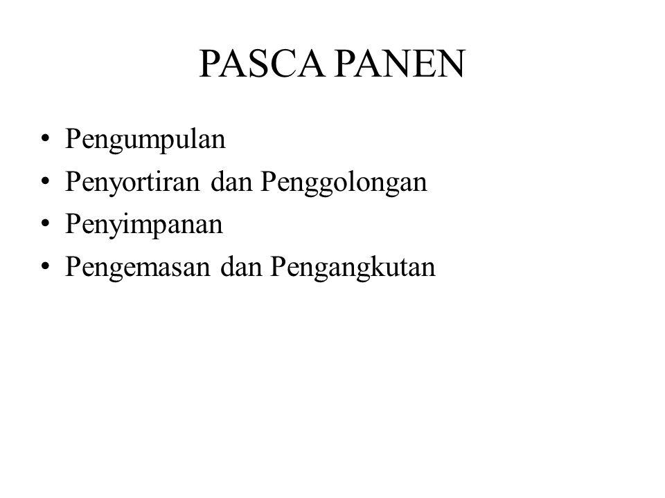 PASCA PANEN Pengumpulan Penyortiran dan Penggolongan Penyimpanan Pengemasan dan Pengangkutan