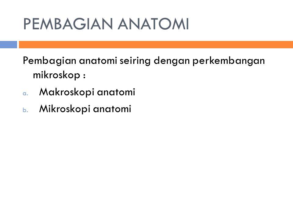 PEMBAGIAN ANATOMI Pembagian anatomi seiring dengan perkembangan mikroskop : a. Makroskopi anatomi b. Mikroskopi anatomi