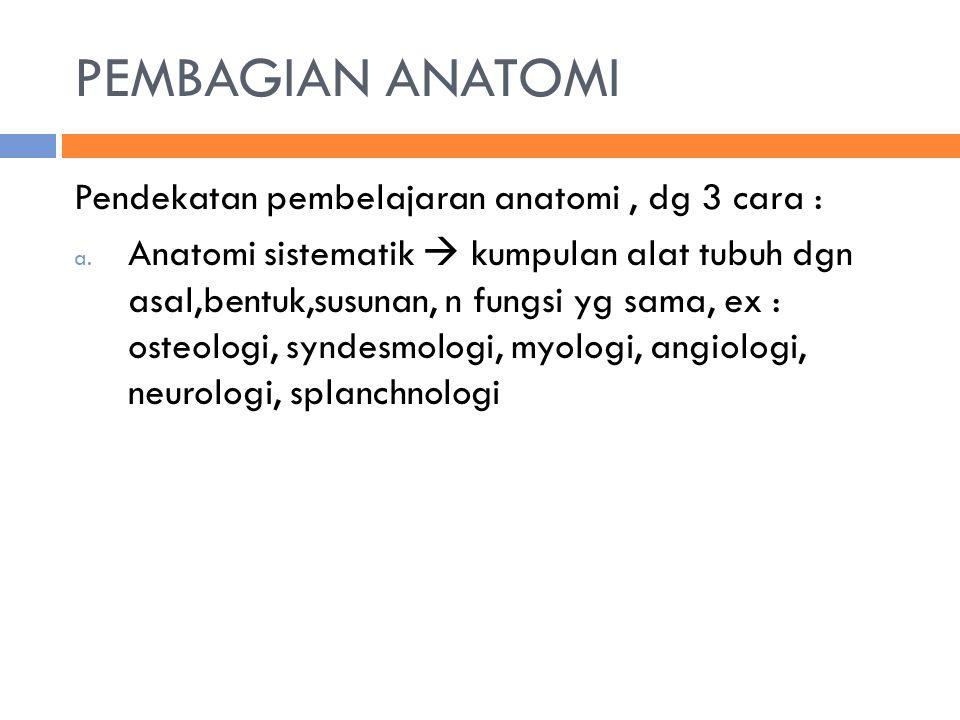 PERISTILAHAN ANATOMI - Fibular = sisi luar kaki belakang - Tibial= sisi dalam kaki belakang - Superficial = permukaan - Profunda= lebih ke dalam - Dexter= kanan - Sinister= kiri