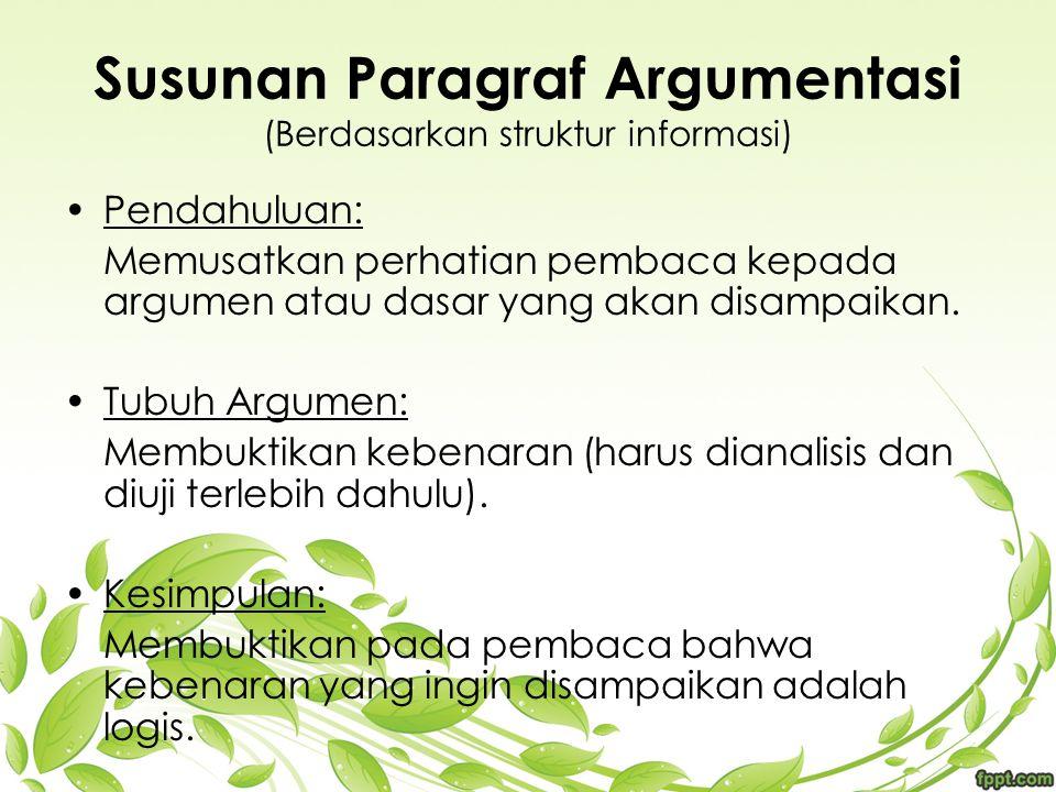 Susunan Paragraf Argumentasi (Berdasarkan struktur informasi) Pendahuluan: Memusatkan perhatian pembaca kepada argumen atau dasar yang akan disampaika