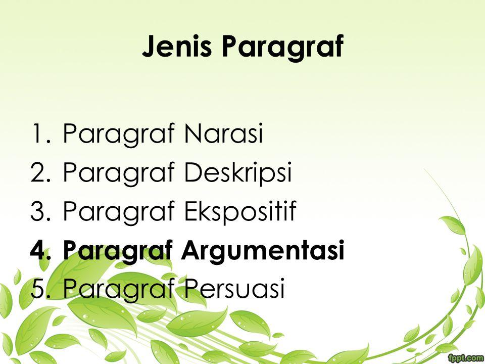 Jenis Paragraf 1.Paragraf Narasi 2.Paragraf Deskripsi 3.Paragraf Ekspositif 4.Paragraf Argumentasi 5.Paragraf Persuasi