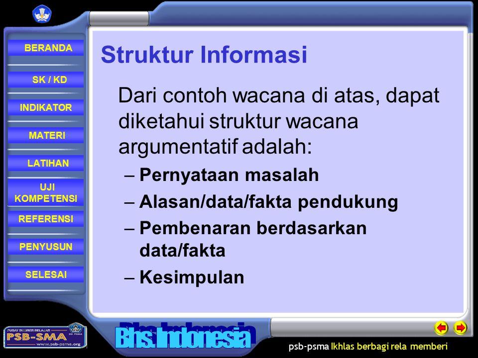 psb-psma Ikhlas berbagi rela memberi REFERENSI LATIHAN MATERI PENYUSUN INDIKATOR SK / KD UJI KOMPETENSI BERANDA SELESAI Struktur Informasi 3.