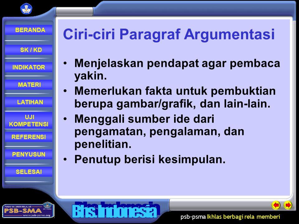 psb-psma Ikhlas berbagi rela memberi REFERENSI LATIHAN MATERI PENYUSUN INDIKATOR SK / KD UJI KOMPETENSI BERANDA SELESAI Paragraf Argumentasi Paragraf argumentasi adalah jenis paragraf yang mengungkapkan ide, gagasan, atau pendapat penulis dengan disertai bukti dan fakta (benar-benar terjadi).