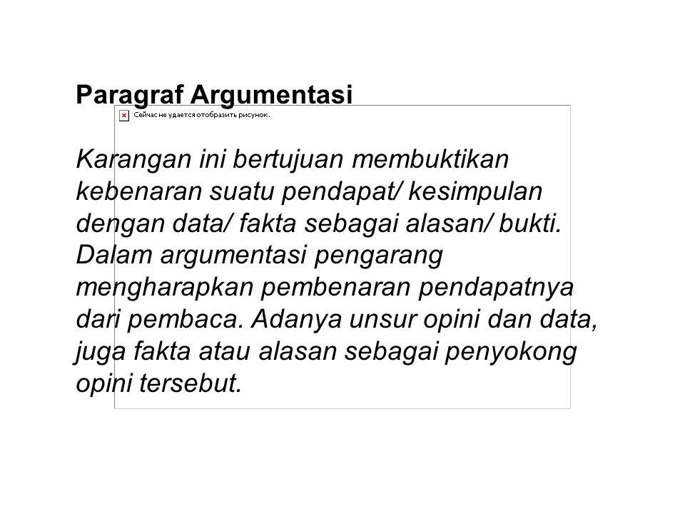 Paragraf Argumentasi Karangan ini bertujuan membuktikan kebenaran suatu pendapat/ kesimpulan dengan data/ fakta sebagai alasan/ bukti. Dalam argumenta