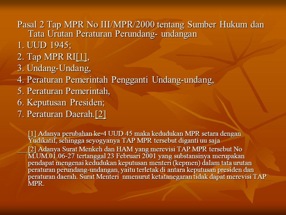 Pasal 2 Tap MPR No III/MPR/2000 tentang Sumber Hukum dan Tata Urutan Peraturan Perundang- undangan 1. UUD 1945; 2. Tap MPR RI[1], [1] 3. Undang-Undang