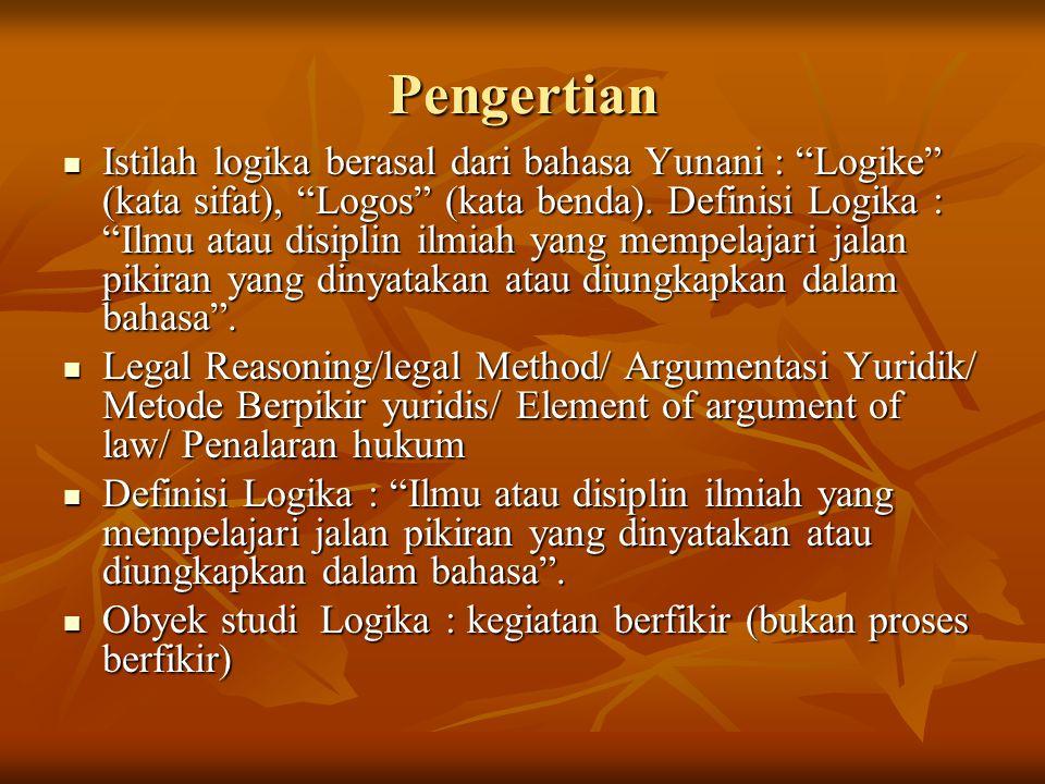 Pengertian Istilah logika berasal dari bahasa Yunani : Logike (kata sifat), Logos (kata benda).