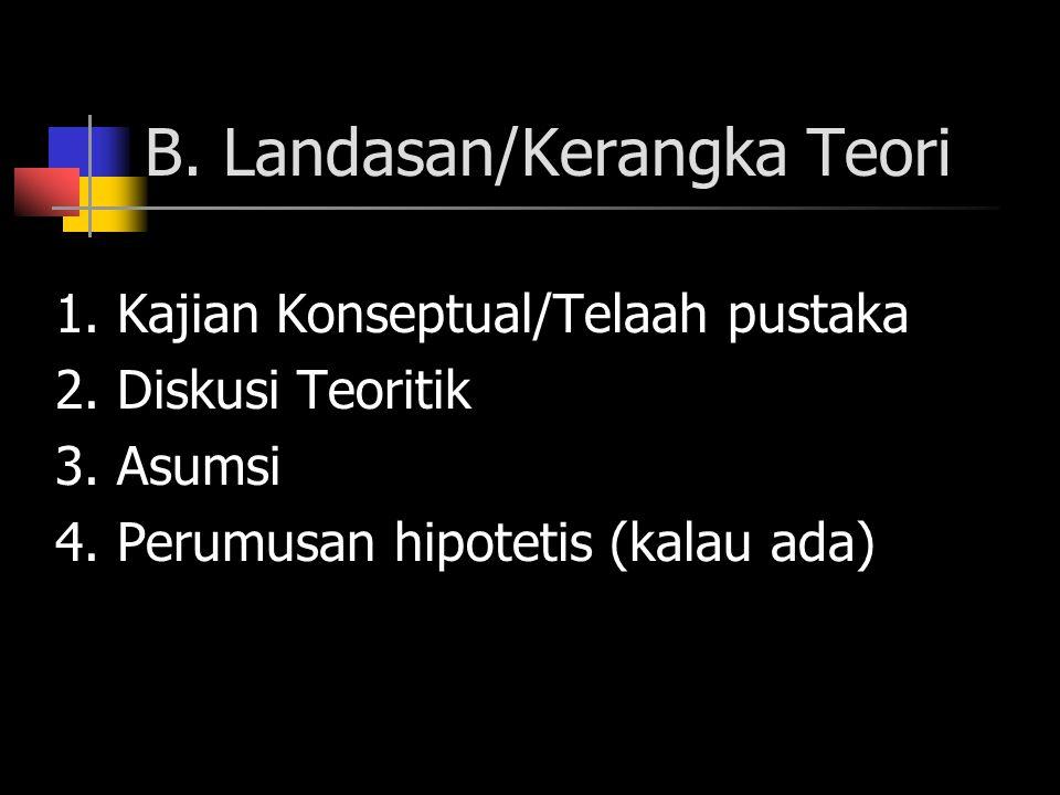 B. Landasan/Kerangka Teori 1. Kajian Konseptual/Telaah pustaka 2. Diskusi Teoritik 3. Asumsi 4. Perumusan hipotetis (kalau ada)