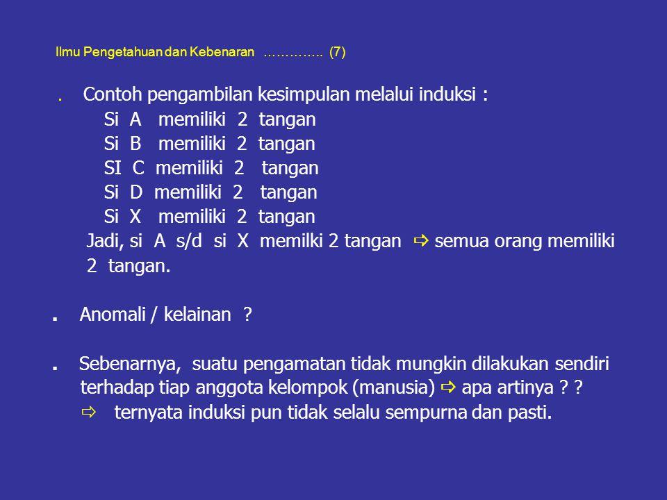 Ilmu Pengetahuan dan Kebenaran ………….. (7). Contoh pengambilan kesimpulan melalui induksi : Si A memiliki 2 tangan Si B memiliki 2 tangan SI C memiliki