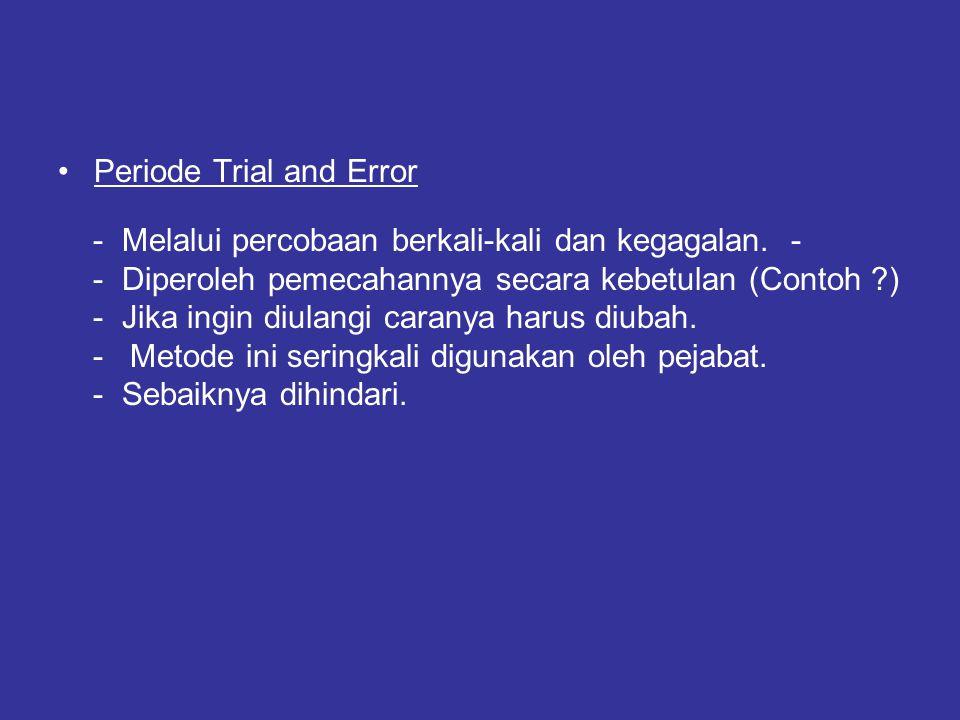 Periode Trial and Error - Melalui percobaan berkali-kali dan kegagalan. - - Diperoleh pemecahannya secara kebetulan (Contoh ?) - Jika ingin diulangi c