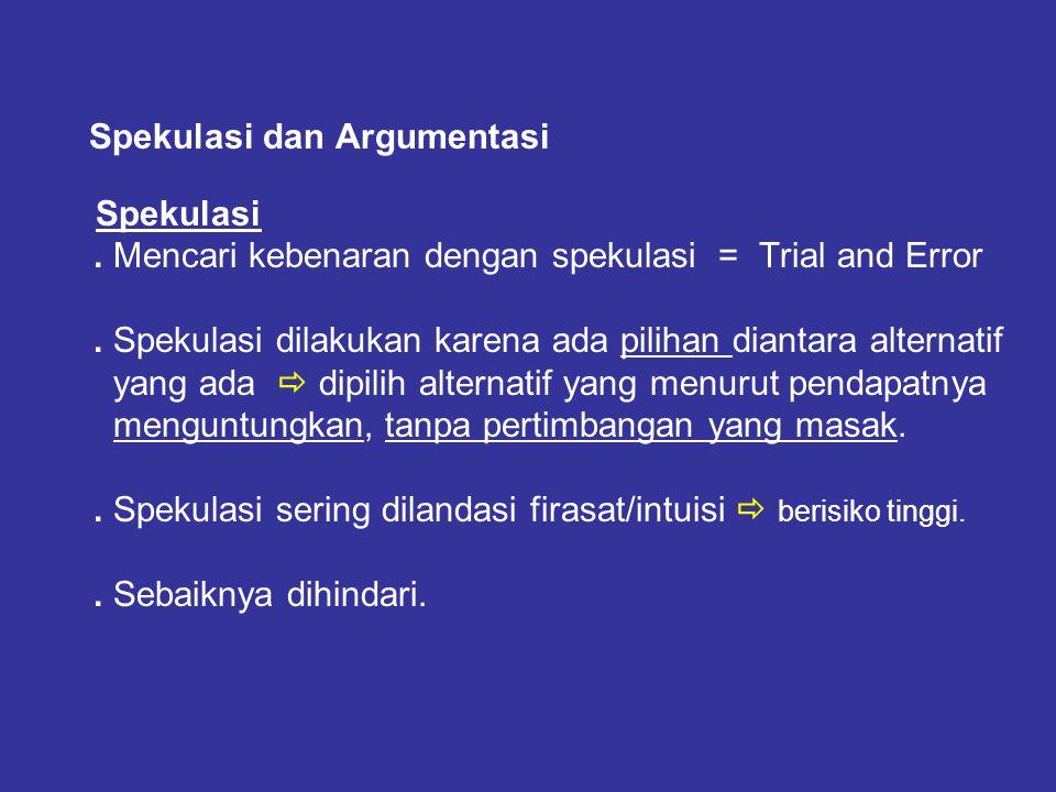 Ilmu Pengetahuan dan Kebenaran ………. (5) Spekulasi dan Argumentasi Spekulasi. Mencari kebenaran dengan spekulasi = Trial and Error. Spekulasi dilakukan