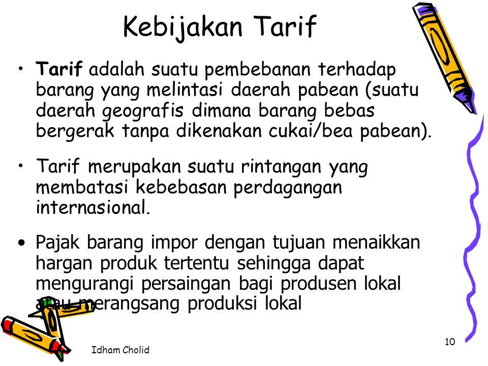 Idham Cholid tarif menimbulkan dampak berupa kenaikan harga atau biaya pengiriman barang (produk impor) ke suatu negara maksud pengenaan tarif: memperoleh pendapatan pengisi kas pemerintah(fungsi budgeter), dan suatu metode untuk melindungi sektor-sektor barang tertentu didalam negeri dari tekanan persaingan produk impor (fungsi regulend) contoh di indonesia : penerapan tarif impor 100% pada mobil mewah