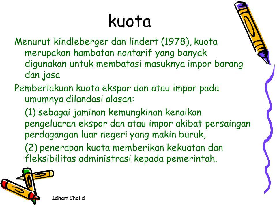 Idham Cholid kuota Menurut kindleberger dan lindert (1978), kuota merupakan hambatan nontarif yang banyak digunakan untuk membatasi masuknya impor bar