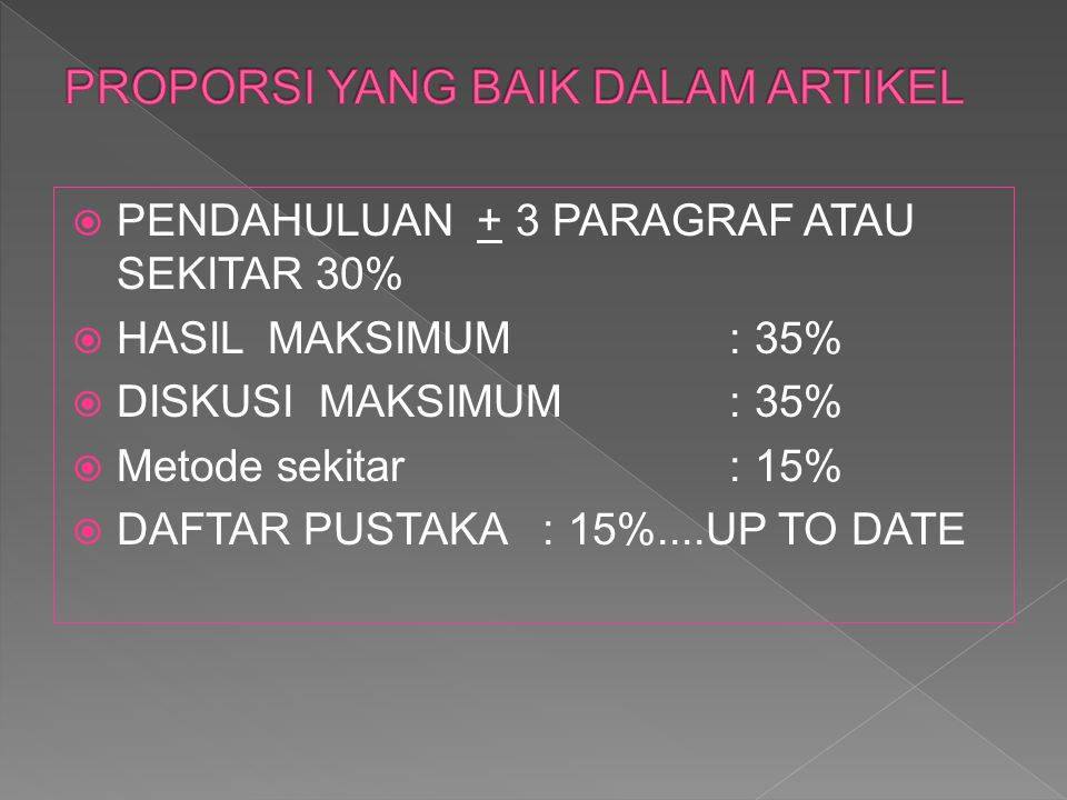  PENDAHULUAN + 3 PARAGRAF ATAU SEKITAR 30%  HASIL MAKSIMUM : 35%  DISKUSI MAKSIMUM : 35%  Metode sekitar : 15%  DAFTAR PUSTAKA : 15%....UP TO DAT