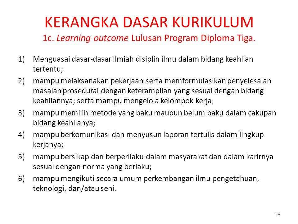 KERANGKA DASAR KURIKULUM 1c. Learning outcome Lulusan Program Diploma Tiga. 1)Menguasai dasar-dasar ilmiah disiplin ilmu dalam bidang keahlian tertent