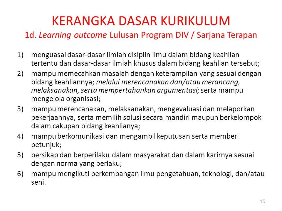 KERANGKA DASAR KURIKULUM 1d. Learning outcome Lulusan Program DIV / Sarjana Terapan 1)menguasai dasar-dasar ilmiah disiplin ilmu dalam bidang keahlian