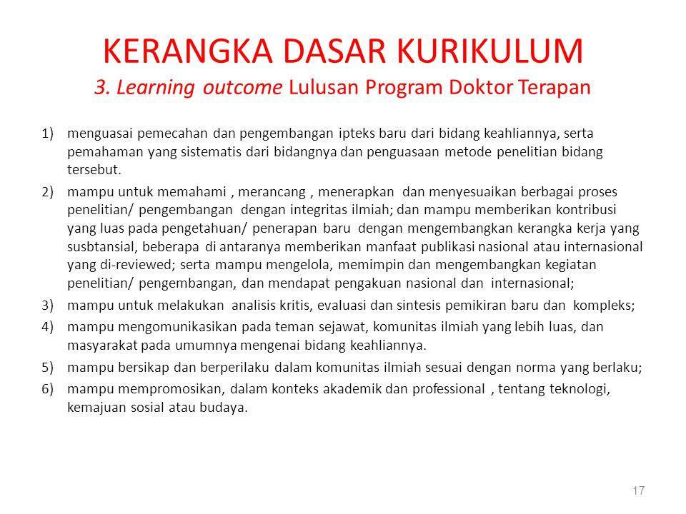KERANGKA DASAR KURIKULUM 3. Learning outcome Lulusan Program Doktor Terapan 1)menguasai pemecahan dan pengembangan ipteks baru dari bidang keahliannya