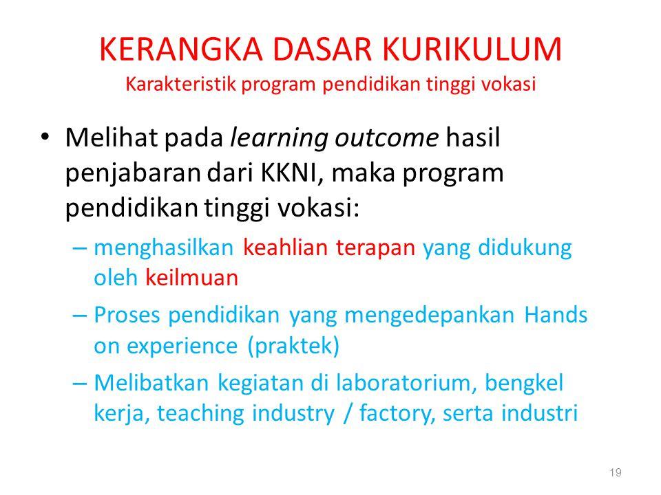 KERANGKA DASAR KURIKULUM Karakteristik program pendidikan tinggi vokasi Melihat pada learning outcome hasil penjabaran dari KKNI, maka program pendidi